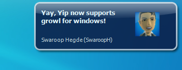 Yip on Growl for Windows